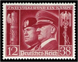 1941 WWII Hitler and Mussolini Germany Postage Stamp Catalog B189 MNH