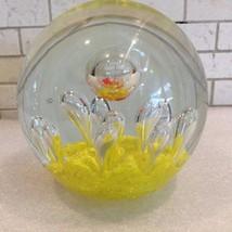 Vtg Art Glass Round Paperweight Bullicante Yell... - $39.11