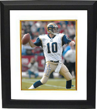 Primary image for Marc Bulger signed St. Louis Rams 16X20 Photo Custom Framed (white jersey pass)-