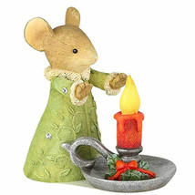 "2"" Enesco Tails With Heart Girl Mouse Candle Christmas Glow Figurine Decor - $21.73"