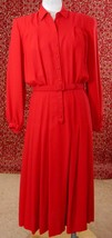 VINTAGE 90's red long sleeve belted shift dress 10 (TC3-05G8G) - $42.55