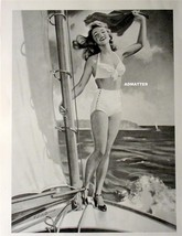 VINTAGE PIN-UP GIRL SEXY SHORTS & HIGH HEELS SAILING BOATING HOT PHOTO O... - $9.74