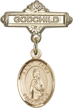 14K Gold Baby Badge with St. Alice Charm and Godchild Badge Pin 1 X 5/8 inch - $446.25