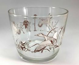 Hazel Atlas Hunting Dogs Birds Glass Ice Bucket Pheasant Duck Hunting Ba... - $15.83