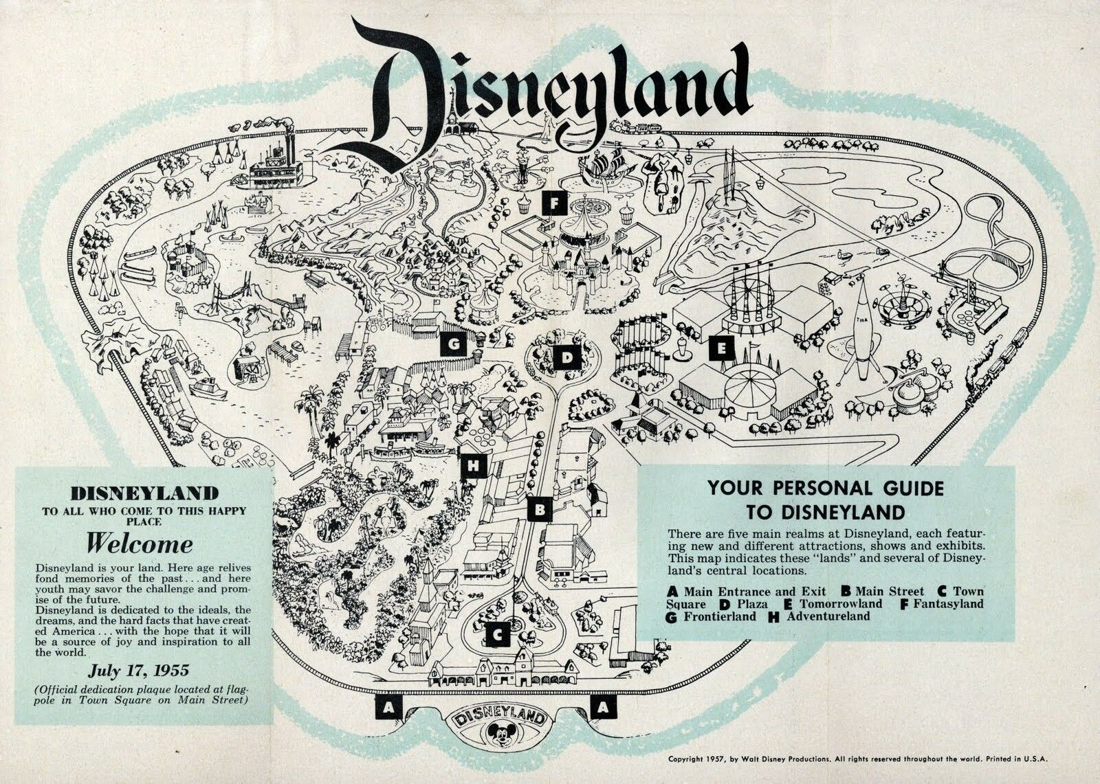 1957 Disneyland Map POSTER 24 X 36 Inches Looks beautiful Nostalgia - $19.94