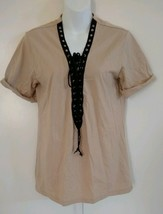 Forever 21 Women's Short Cuffed Sleeve V-neck Lace-up Beige Top Size Small - $7.69