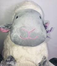 "Animal Adventure SHEEP LAMB 15"" Plush White Gray Gingham Ribbed Belly 2018 - $34.63"