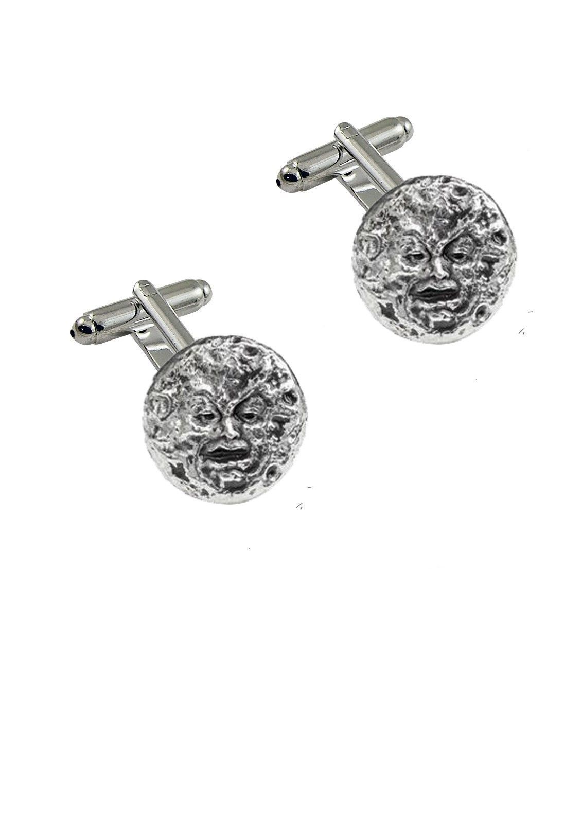 Primary image for Man In The Moon Pewter on Cufflinks cufflink Jewellery Suit wedding d27 M'era Lu