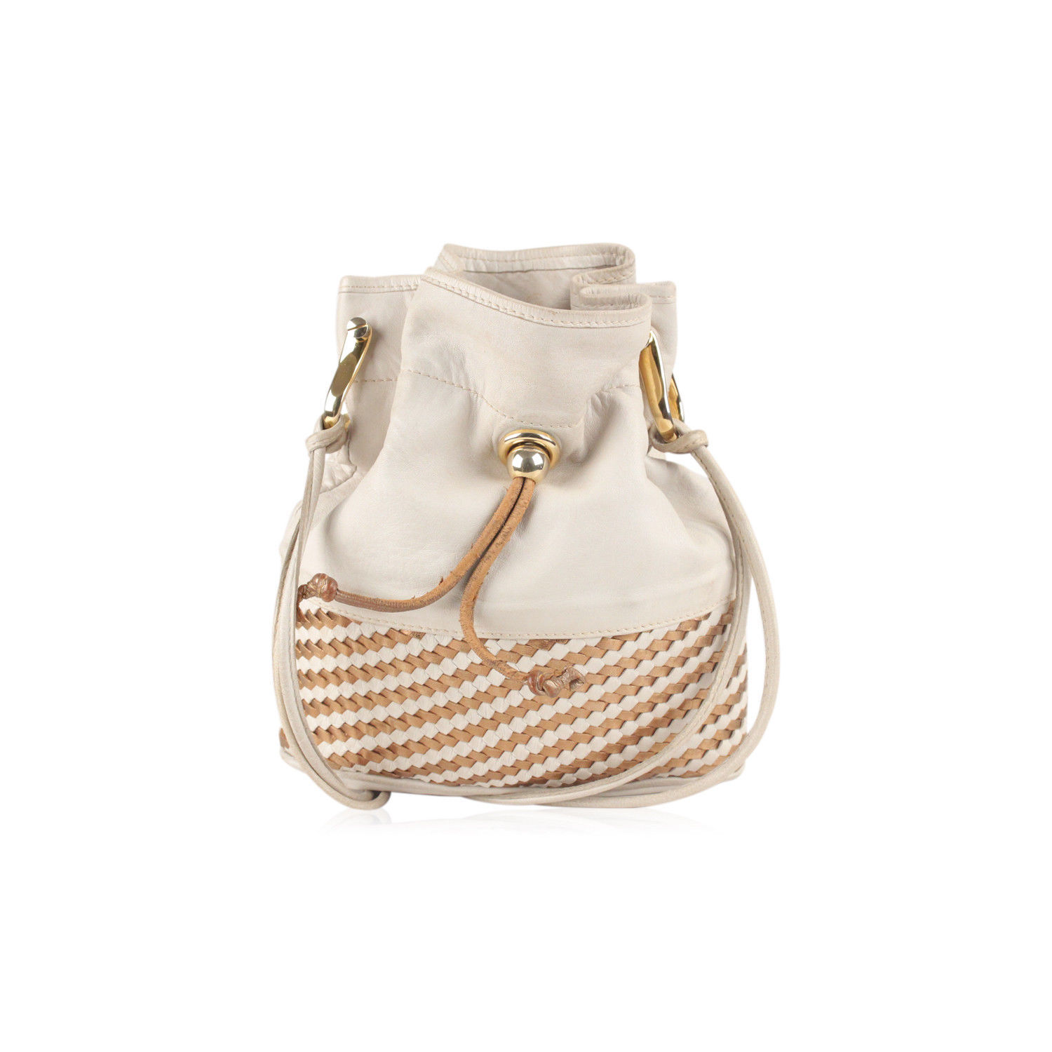 d04f1eb50b4 Authentic Gucci Off White Vintage Drawstring Bucket with Woven Panel