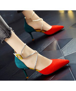 92S017 Lady's strappy ankle sandals in spell color, size 4-8.5, red/green - $62.80