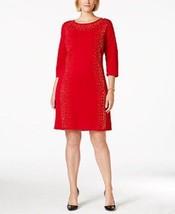 Calvin Klein Sweater Dress Sz S Red Gold Silver Studded 3/4 Sleeve Cockt... - $62.73