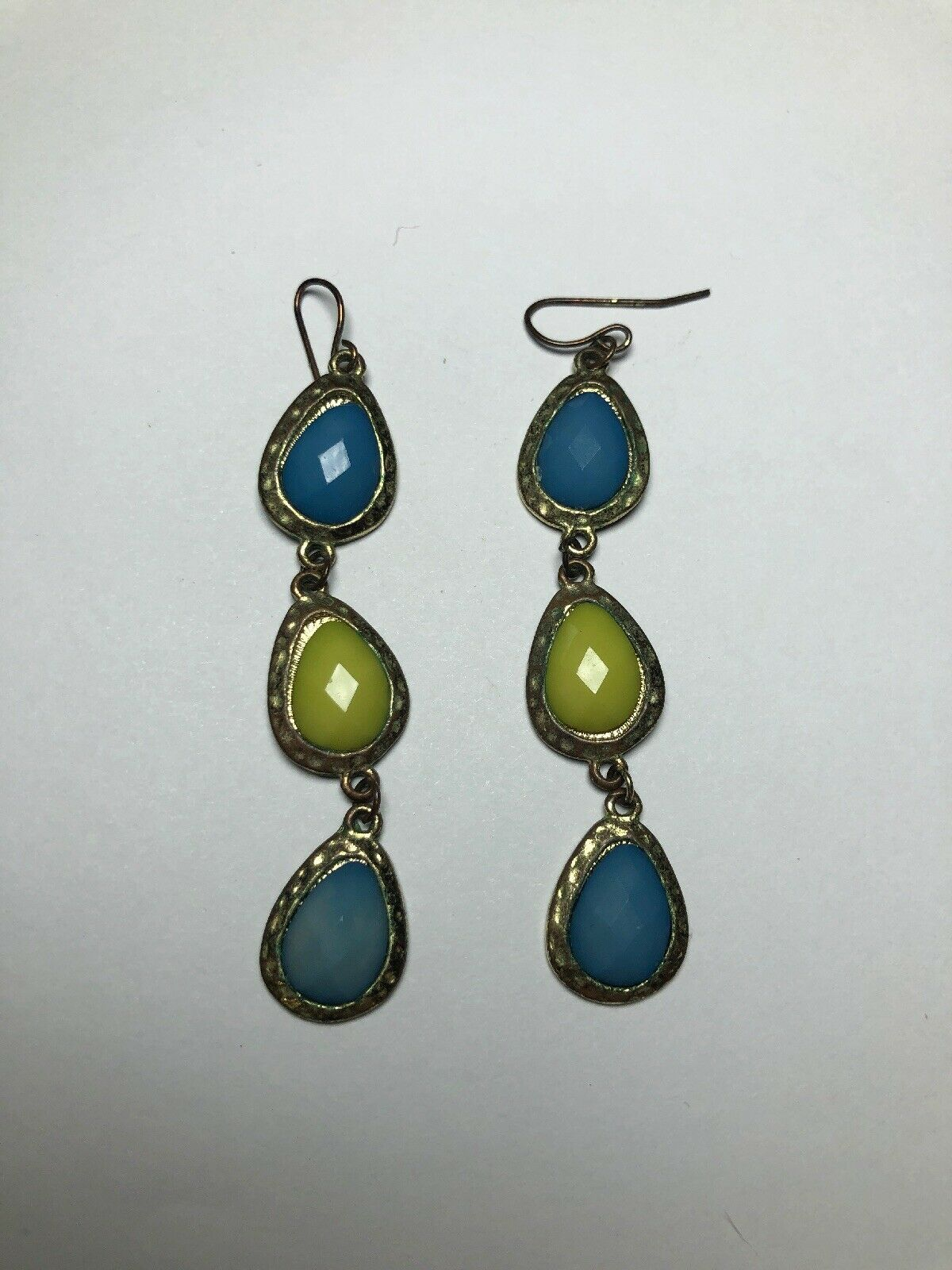 Primary image for Vintage Earrings Blue And Yellow Gems And Gold Tone Costume Jewelry