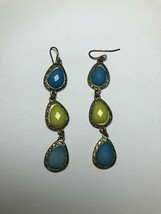 Vintage Earrings Blue And Yellow Gems And Gold Tone Costume Jewelry - $6.34