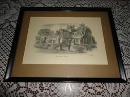 Original Art UK Artist JUDGES Pencil Sketch Cartmel Priory Cumbria Framed - $301.65