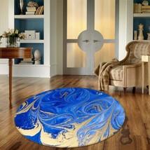 3D Rotating Blue Gold 2 Non Slip Rug Mat Room Mat Round Quality Elegant Carpet - $65.06+