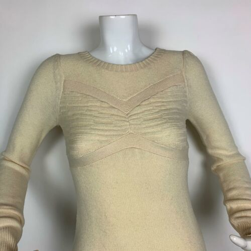 BCBG Maxazria Dress Sweater Lambswool Cashmere Beige Long Sleeves Sz XS