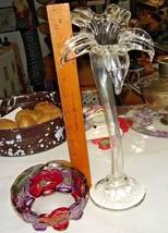 VTG BLOWN ART GLASS LONG STEM ROSE BUD VASE JACK IN THE PULPIT PAPERWEIG... - $188.09