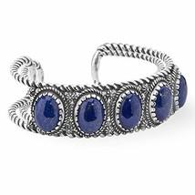 925 Silver & Five Stone Lapis Cuff Bracelet - Large - $253.56