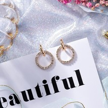 Korean Elegant Crystal Rhinestone Round Drop Earrings Cute Dangle Jewellery - $2.99