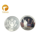 Silver Plated Metal Coin Donald Trump American President US Commemorativ... - $5.50