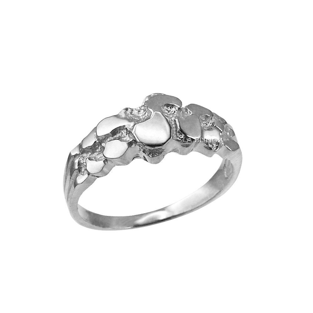 Sterling Silver Womens Nugget Ring