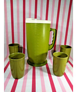 Groovy 1970's Vintage MoD Avocado Green Plastic Beverage Pitcher +4 Tumb... - $20.00