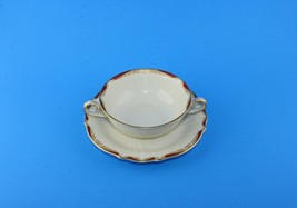 Rosenthal Pompadour Red Gold Tones Cream Soup Bowl Cup & Saucer Germany ... - $28.71