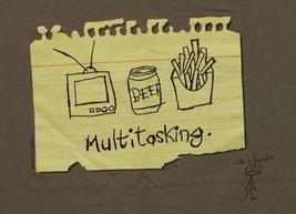 Multitasking TV Beer Food multi tasking Funny Humorous Life is Harsh Tshirt - $9.89