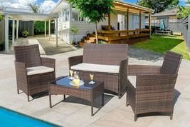Patio Sofa Set 4 Pcs Outdoor Furniture Set PE Rattan Wicker Cushion Outd... - $267.62