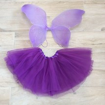 Girls PURPLE FAIRY COSTUME Tutu & Wings Set one sz Kids  - $28.71