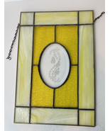 """Yellow Stained Glass Butterfly Etched Beveled hanging Panel Window 10""""x 15"""" - $89.10"""