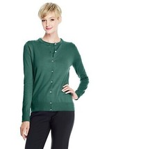 Lands End  Women's Petite LS Supima Crew Cardigan Sweater Viridian Green New - $14.99