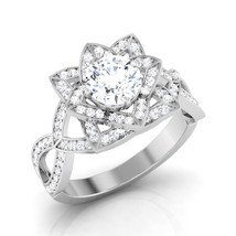 Solid 18k White Gold Jewelry Art Nouveau Flower Design Ring Love Ring Free Ship  - $699.99