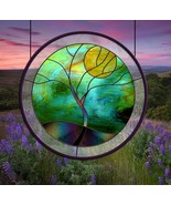 Stained Glass Window Panel Round Stormy Tree Blue Green Gold Black - $195.00