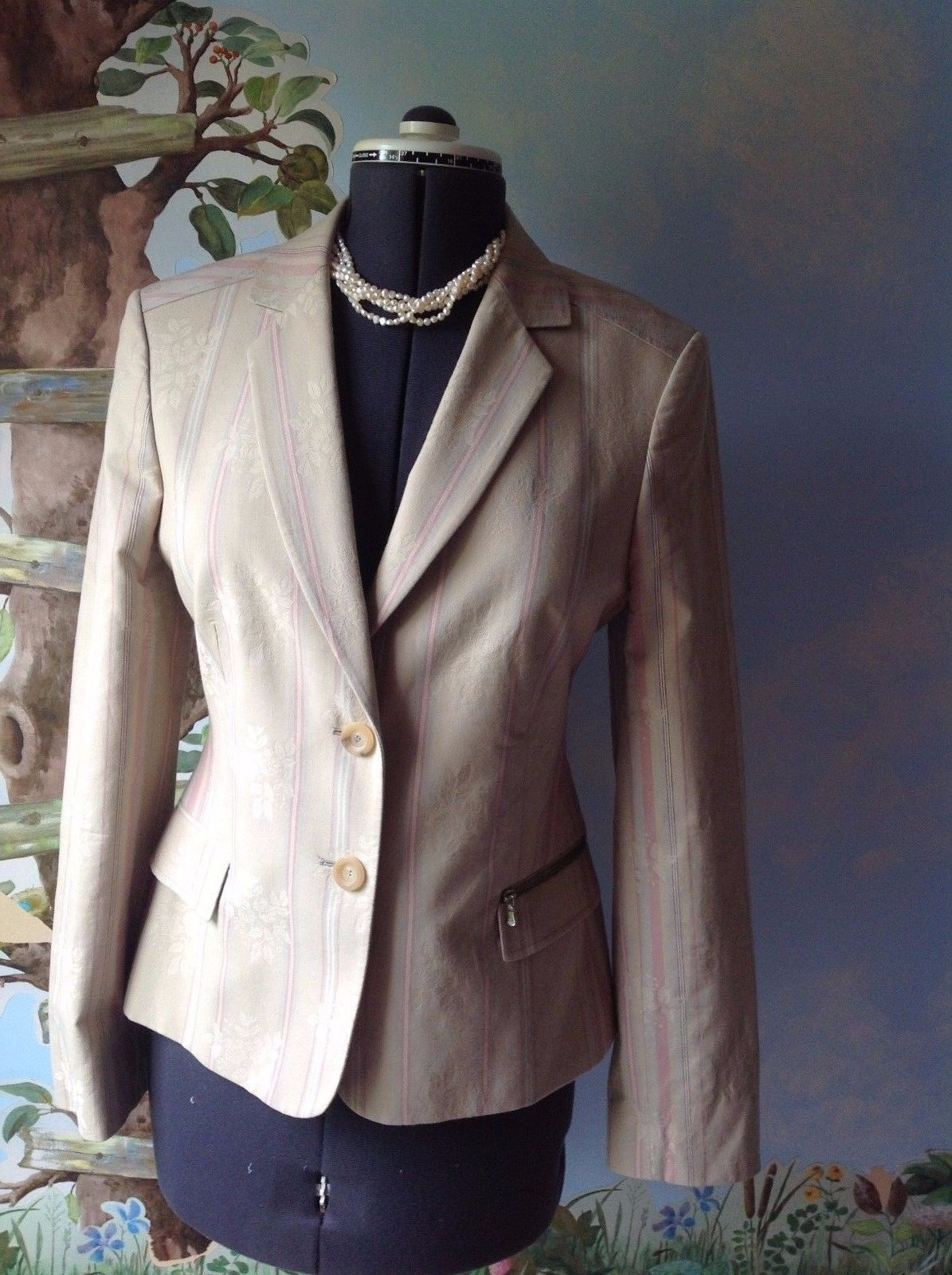 Primary image for Ted Baker London Long Sleeve Floral Pinstripe Beige Blazer Suit Jacket SZ 4