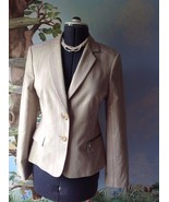 Ted Baker London Long Sleeve Floral Pinstripe Beige Blazer Suit Jacket SZ 4 - $31.52
