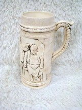 Off-White Ceramic Beer Stein with Picture of Men Drinking at Table, Poki... - $19.75