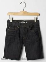 NWT $27 GAP Kids Boys Dark Denim Shorts Raw Frayed Hem 12 Regular - $12.86