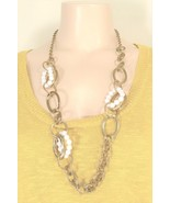 """Bijoux Terner necklace gold tone metal loops with white plastic """"beads"""" ... - $4.94"""