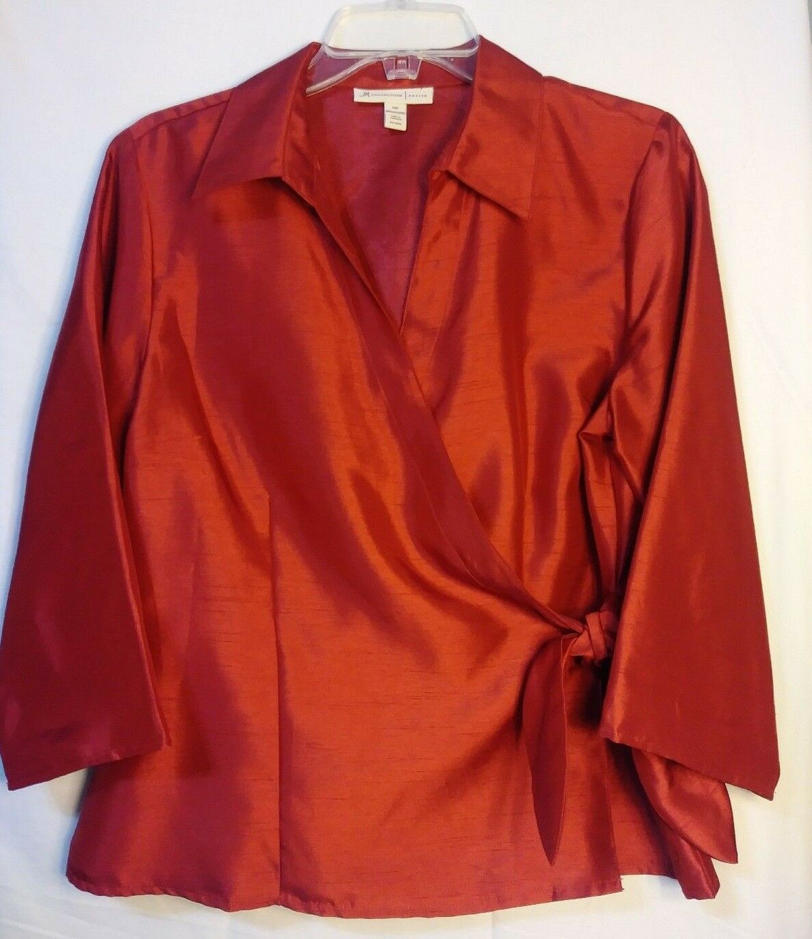 JM Collection Red Long Sleeve Wrap Blouse Evening Wear Business PM