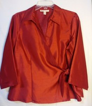 JM Collection Red Long Sleeve Wrap Blouse Evening Wear Business PM - $9.99