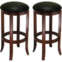 "30"" Swivel Bar Stools with Faux Leather Seat, Set of 2, Black and Walnut - $121.18"