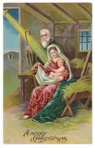 Christmas Nativity Holy Family Child Star of Bethlehem Embossed Vntg Pos... - $4.99