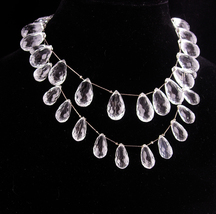 Stunning sterling prism drop necklace - 2 stands - graduated drops - Vin... - $225.00