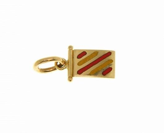 18K YELLOW GOLD NAUTICAL GLAZED FLAG LETTER Y PENDANT CHARM MEDAL MADE IN ITALY