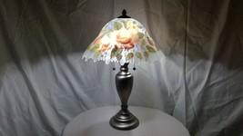Vintage Unused Estate Find Hand-Painted Floral Glass Shade on Metal Base... - $284.05