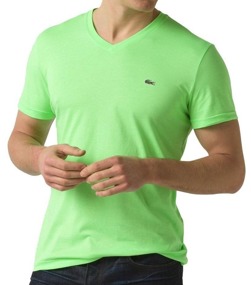 NEW LACOSTE MEN'S PREMIUM PIMA COTTON V-NECK SHIRT T-SHIRT VERT FLUO GREEN