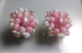 "1950's W. Germany Signed Pink-White beads Crystal Flower Earrings 1.25"" ... - $10.88"