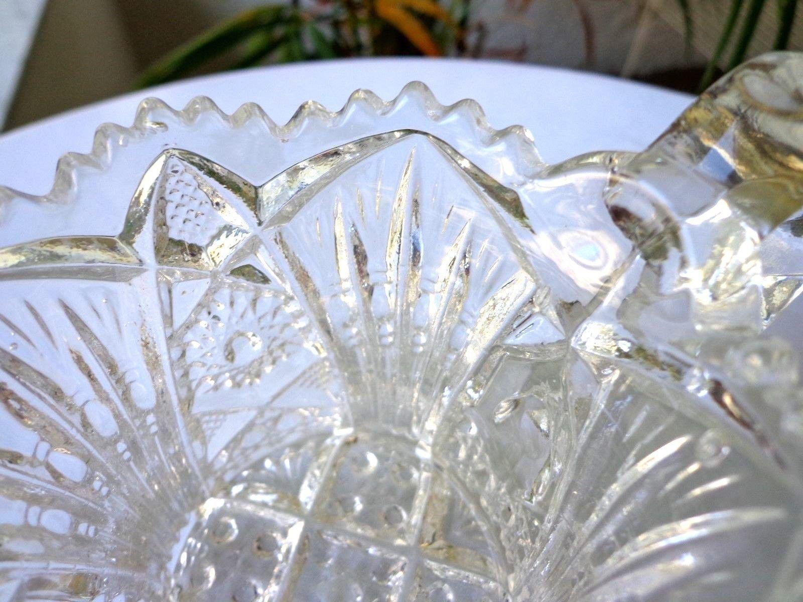 Imperial Glass Nu-Cut #212 Open Sugar Bowl And Creamer Set c 1913