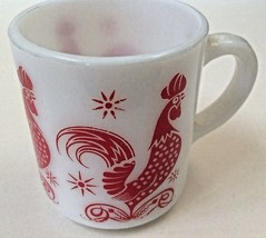 Milkglass Coffee Mug Red Rooster1950s Vintage Kitchen Glass - $25.74